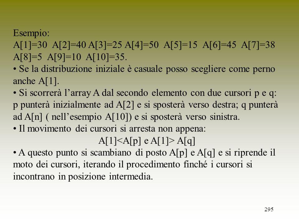 A[1]<A[p] e A[1]> A[q]